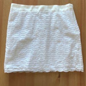 JCrew Eyelet White Mini Skirt